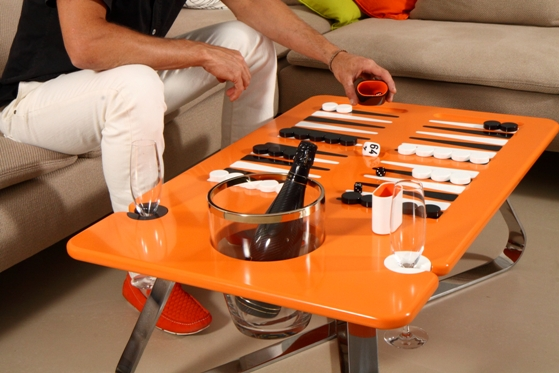 deluxe backgammon table orange line