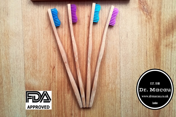 Dr Macau Bamboo Toothbrush - Designed by Dentist - Reduces Plastic Waste