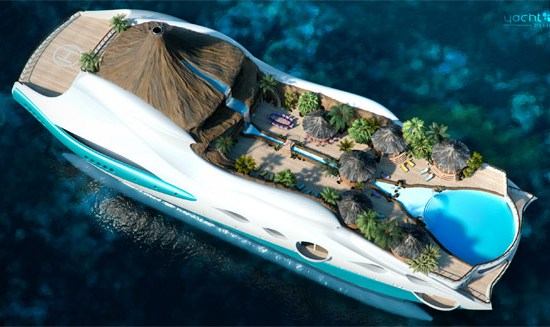 Tropical island yacht design